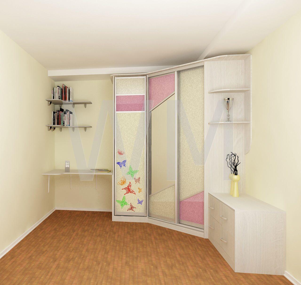 Шкаф в детскую комнату для девочки.
